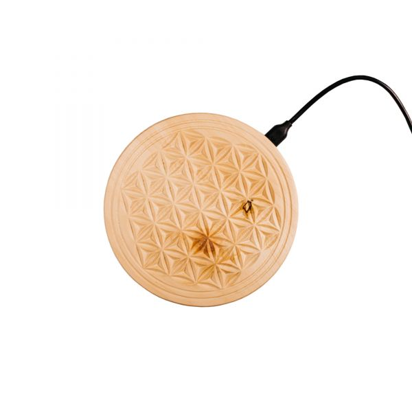 QI-wireless charger for smartphones made of swiss stone pine