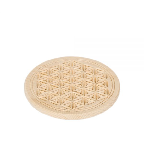 Swiss stone pine coaster 13 cm with flower of life