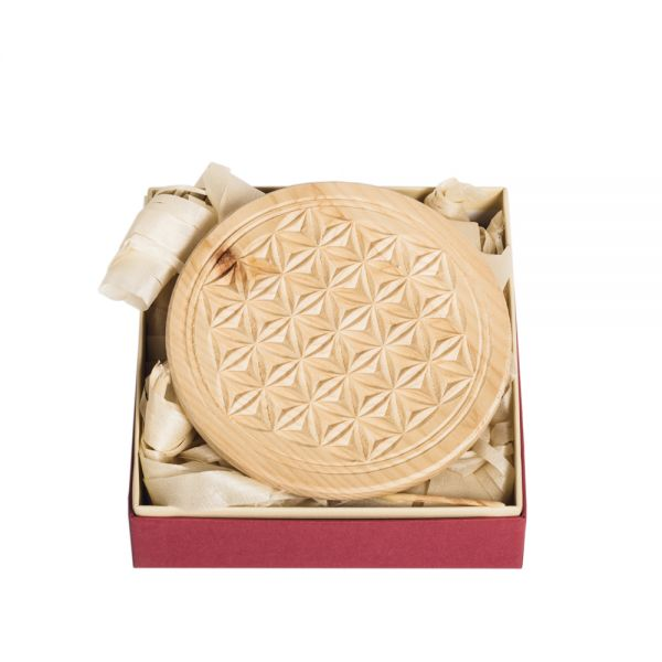 Swiss stone pine coaster 13 cm with flower of life - in gift wrapper