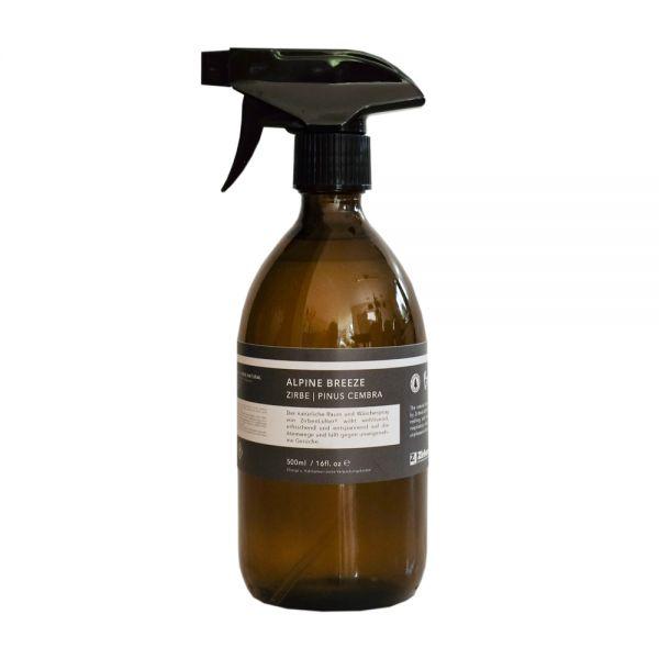 ALPINE BREEZE - Zirben Raumspray, Wäschespray - Glasflasche 500ml, Triggersprayer