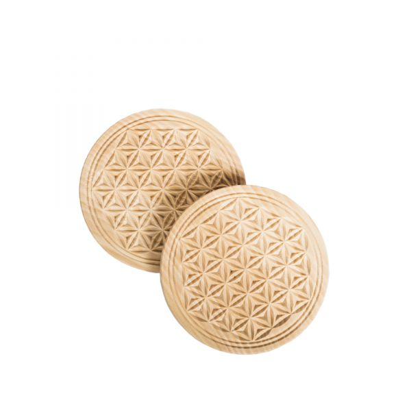 Swiss stone pine coaster 9 cm with flower of life - set of 2